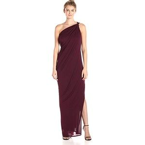 Halston Heritage One Shoulder Draped Jersey Gown